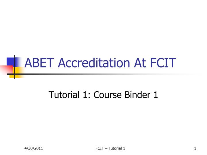 Abet accreditation at fcit