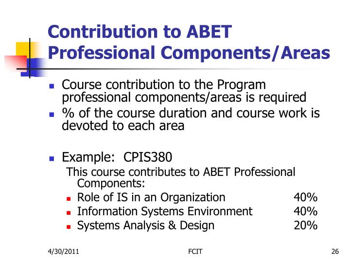 Contribution to ABET Professional Components/Areas