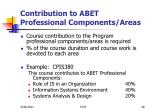 contribution to abet professional components areas