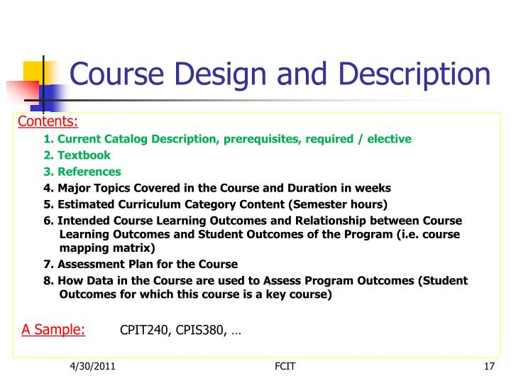 Course Design and Description