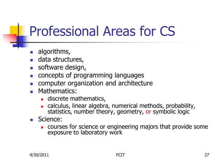 Professional Areas for CS