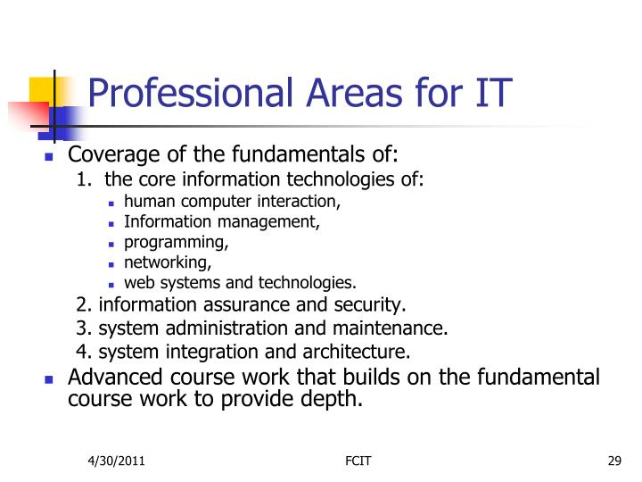 Professional Areas for IT