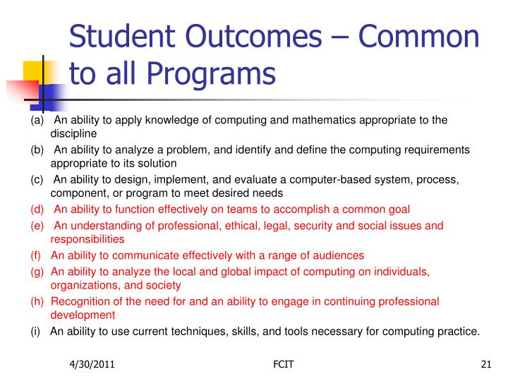Student Outcomes – Common to all Programs