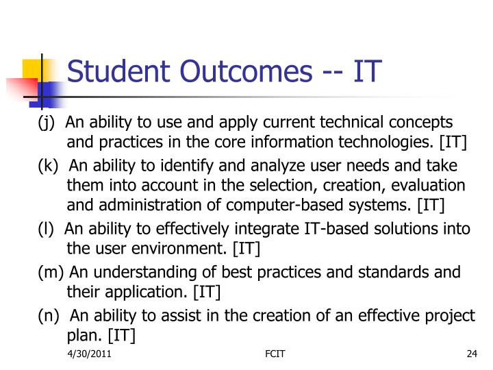 Student Outcomes -- IT