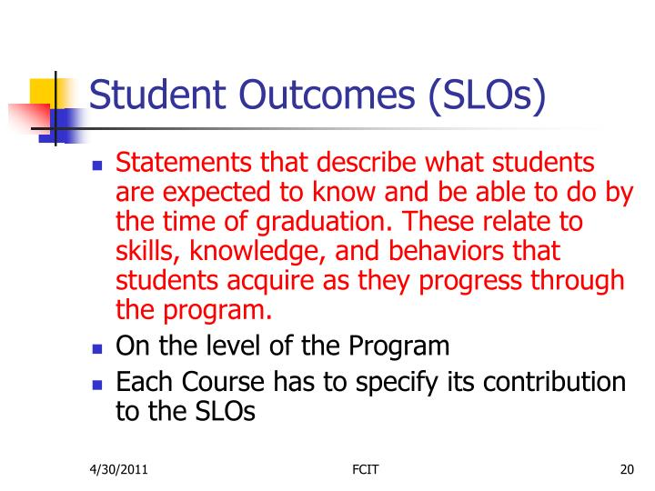 Student Outcomes (SLOs)