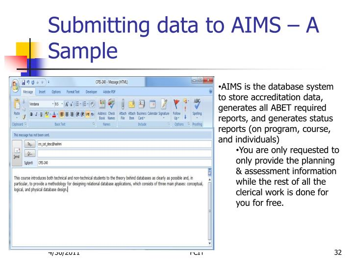 Submitting data to AIMS – A Sample