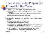the course binder preparation process for this term