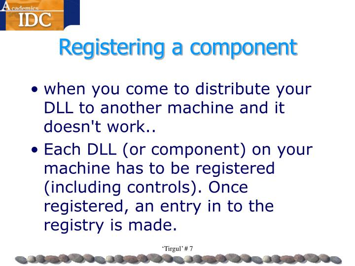 Registering a component