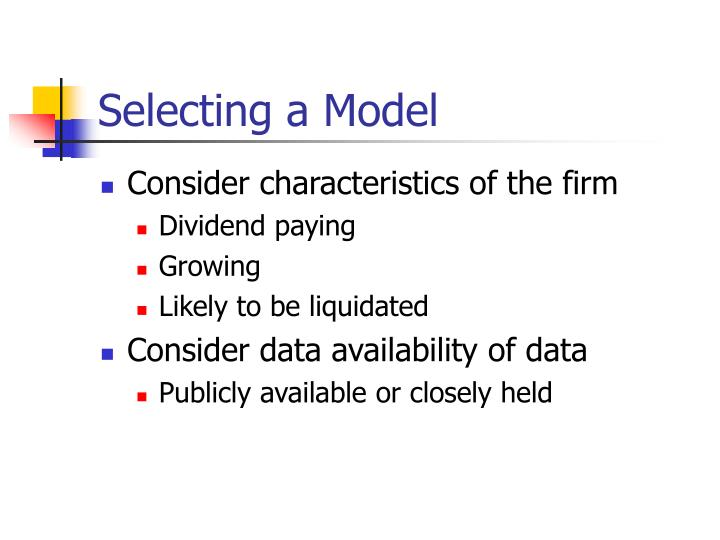 Selecting a Model