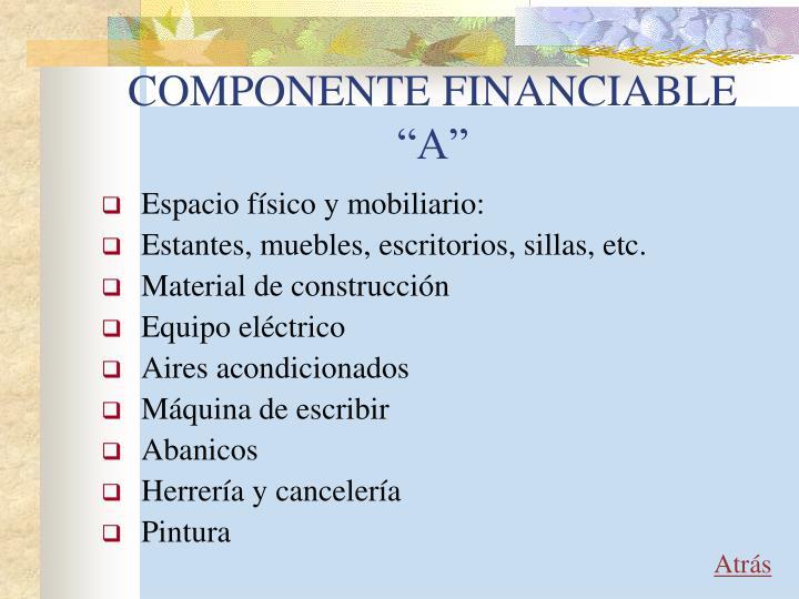"""COMPONENTE FINANCIABLE """"A"""""""