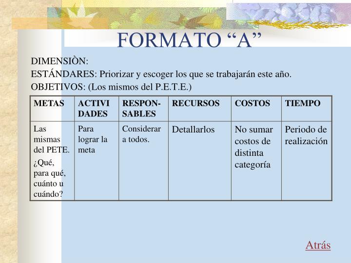 """FORMATO """"A"""""""