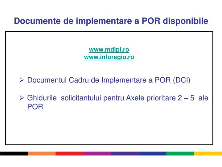 Documente de implementare a POR disponibile