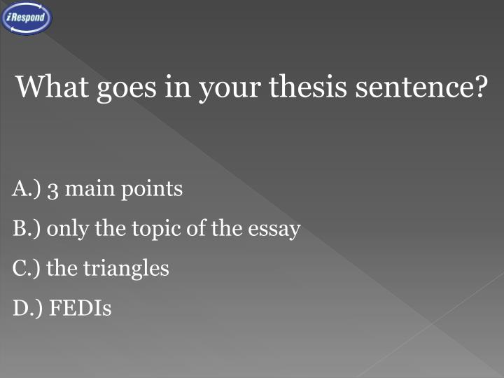 What goes in your thesis sentence?