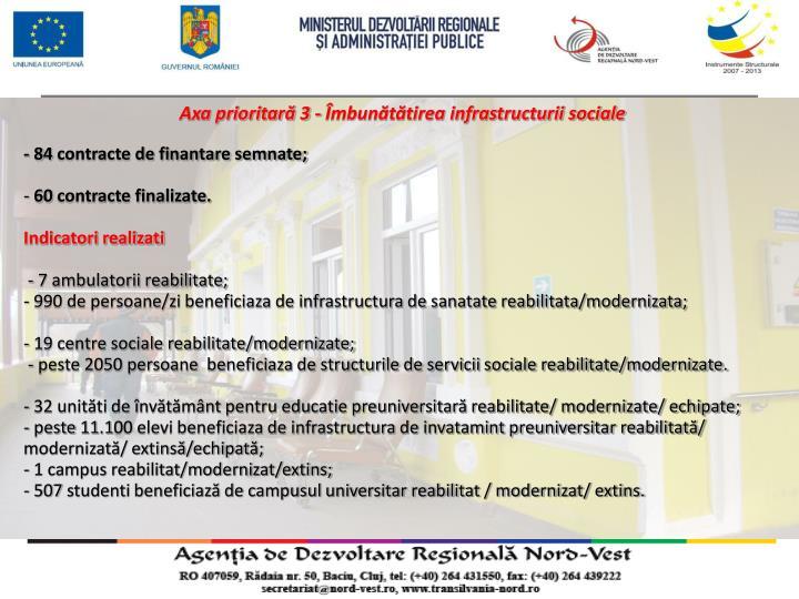 Axa prioritară 3 - Îmbunătătirea infrastructurii sociale