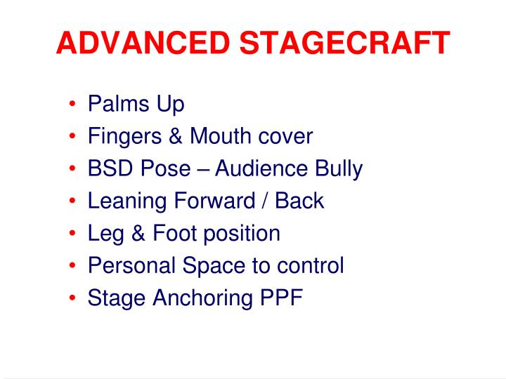 ADVANCED STAGECRAFT