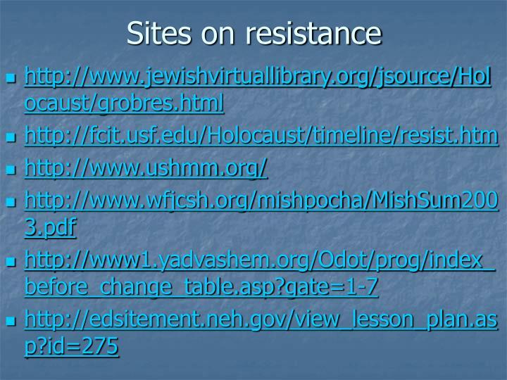 Sites on resistance