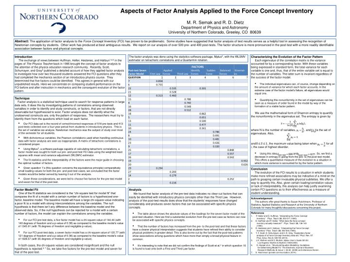 Aspects of factor analysis applied to the force concept inventory