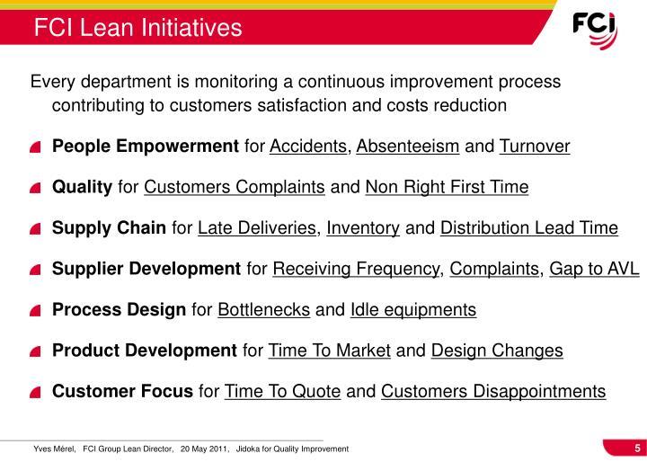FCI Lean Initiatives