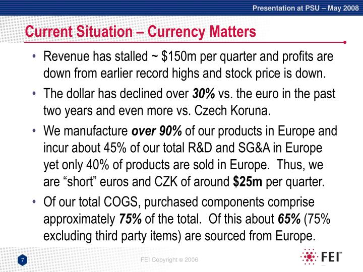 Current Situation – Currency Matters
