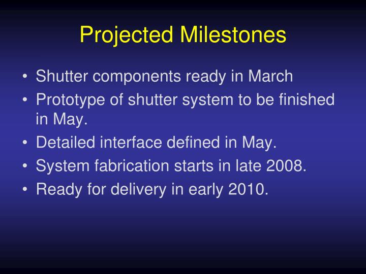 Projected Milestones