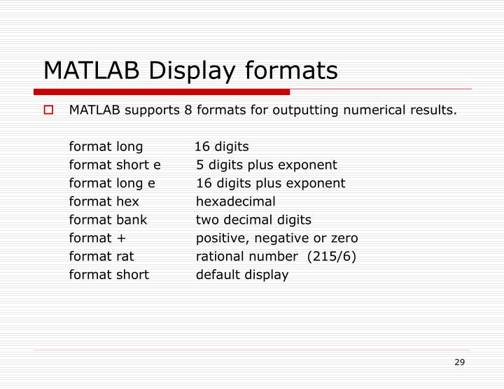 MATLAB Display formats