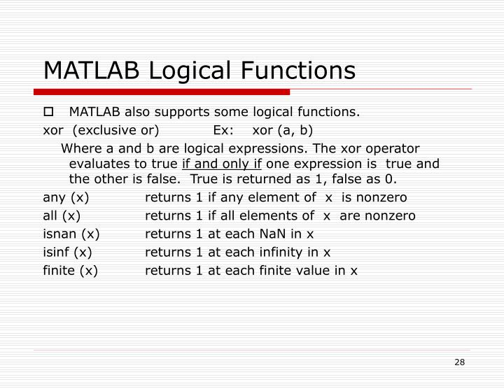 MATLAB Logical Functions