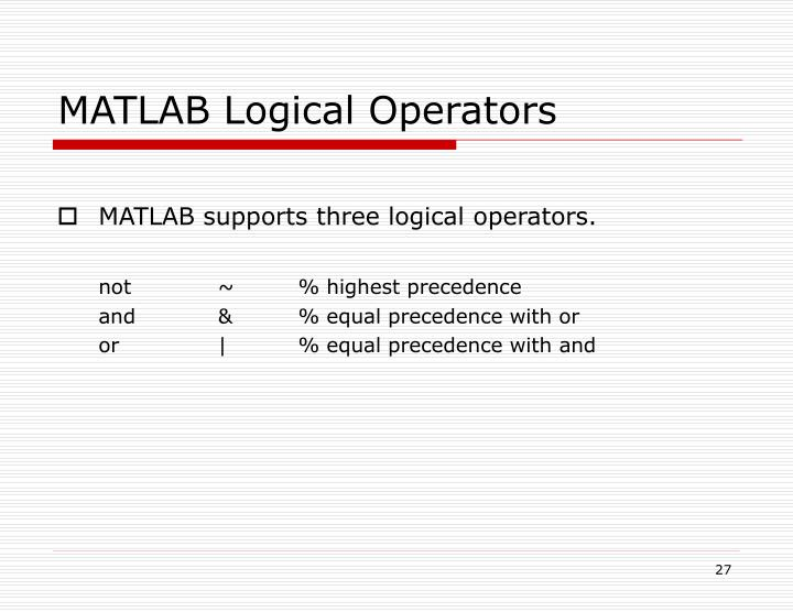 MATLAB Logical Operators