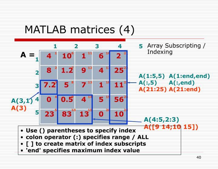 MATLAB matrices (4)