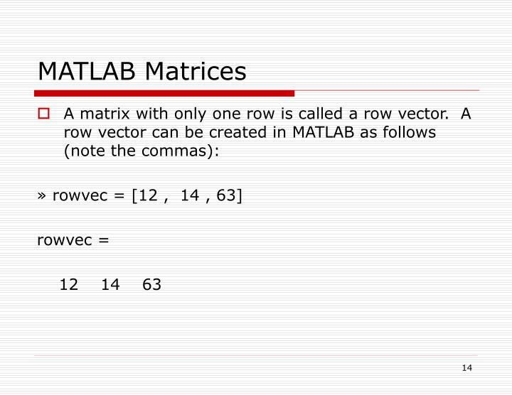 MATLAB Matrices
