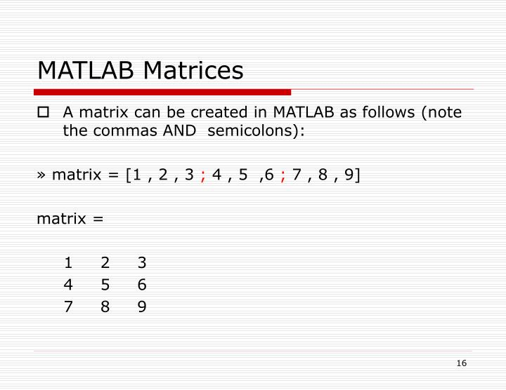 MATLAB Matrices