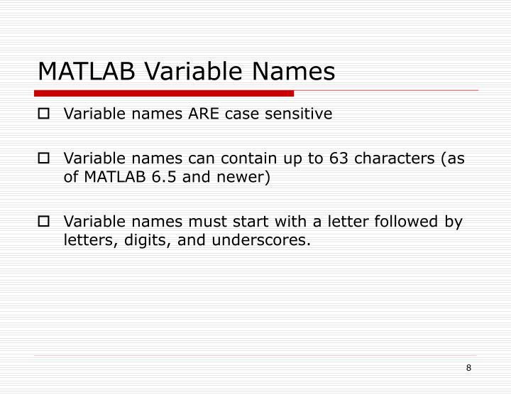 MATLAB Variable Names