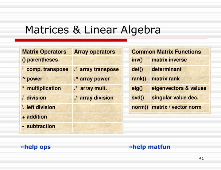Matrices & Linear Algebra