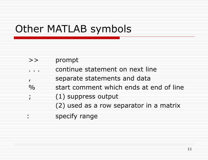 Other MATLAB symbols