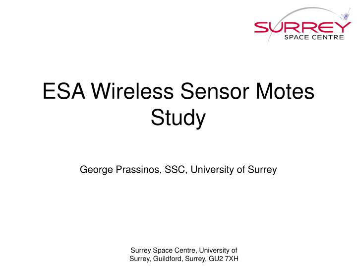 ESA Wireless Sensor Motes Study