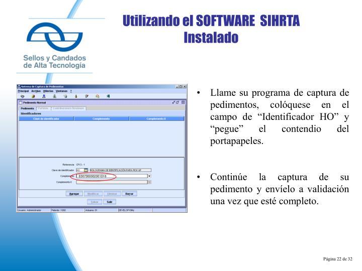Utilizando el SOFTWARE  SIHRTA