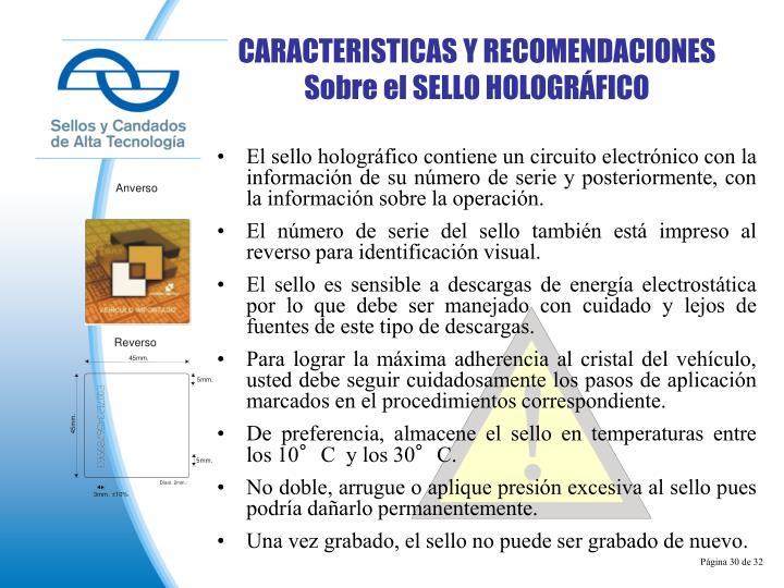 CARACTERISTICAS Y RECOMENDACIONES