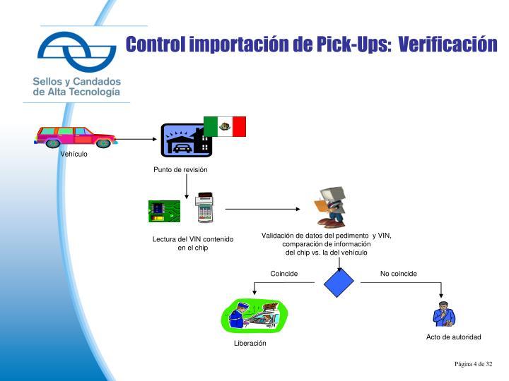 Control importación de Pick-Ups:  Verificación