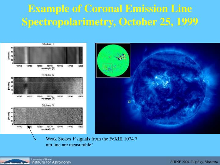 Example of Coronal Emission Line Spectropolarimetry, October 25, 1999