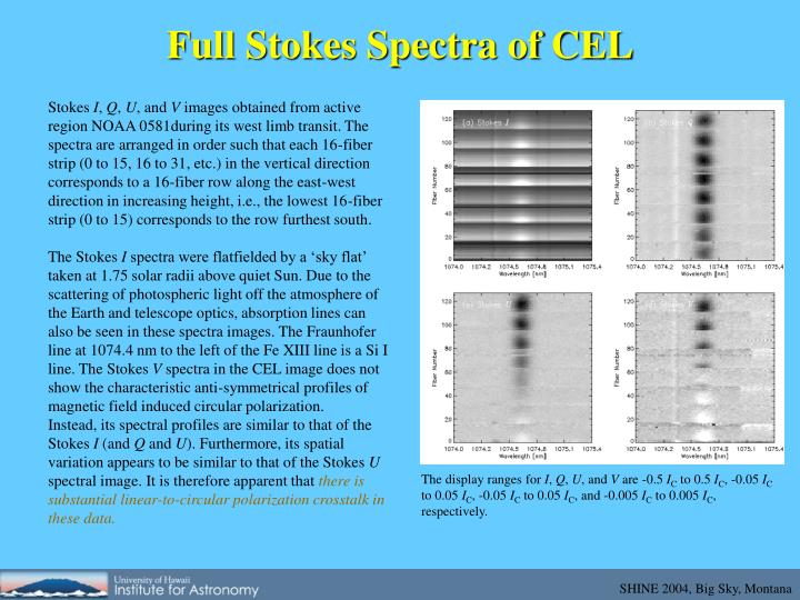 Full Stokes Spectra of CEL