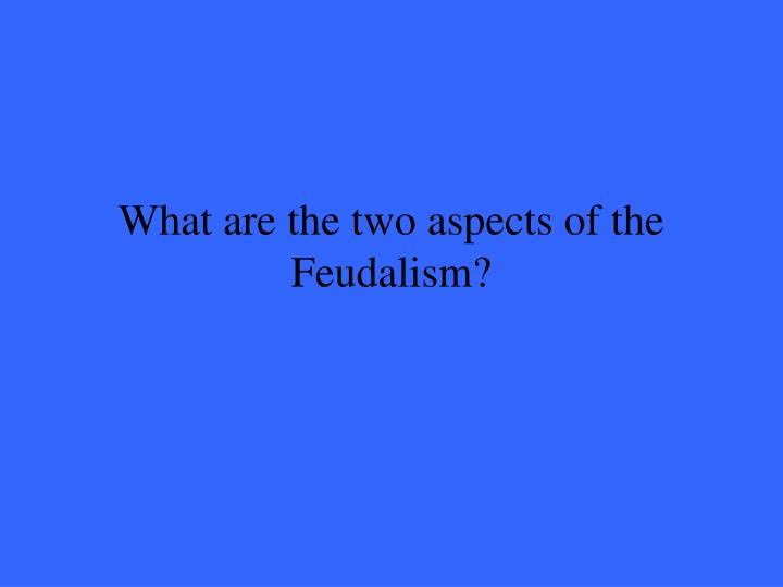 What are the two aspects of the Feudalism?