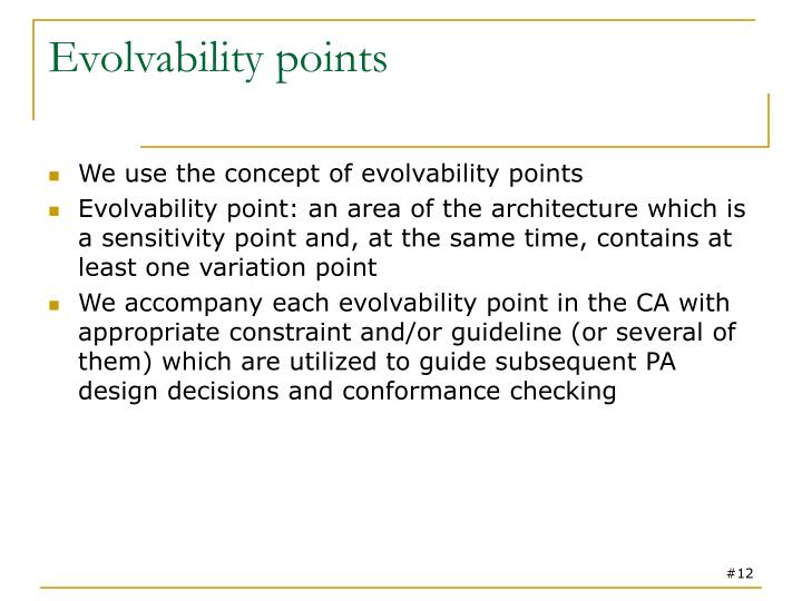 Evolvability points