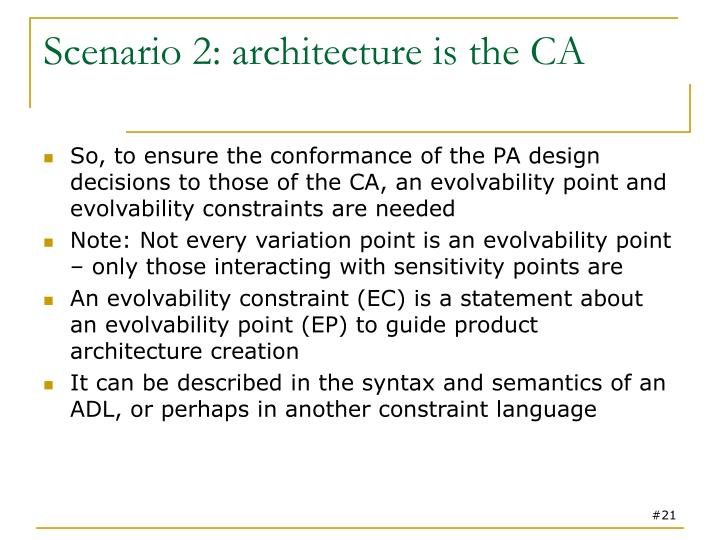 Scenario 2: architecture is the CA
