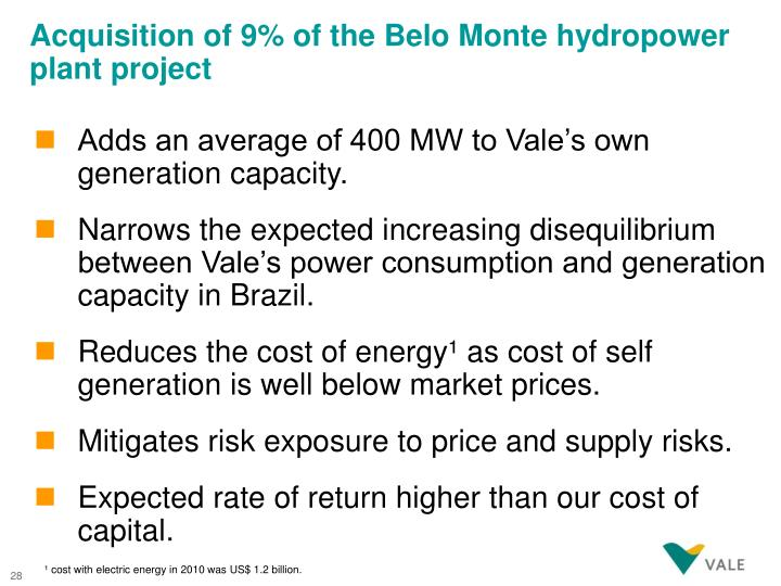 Acquisition of 9% of the Belo Monte hydropower plant project