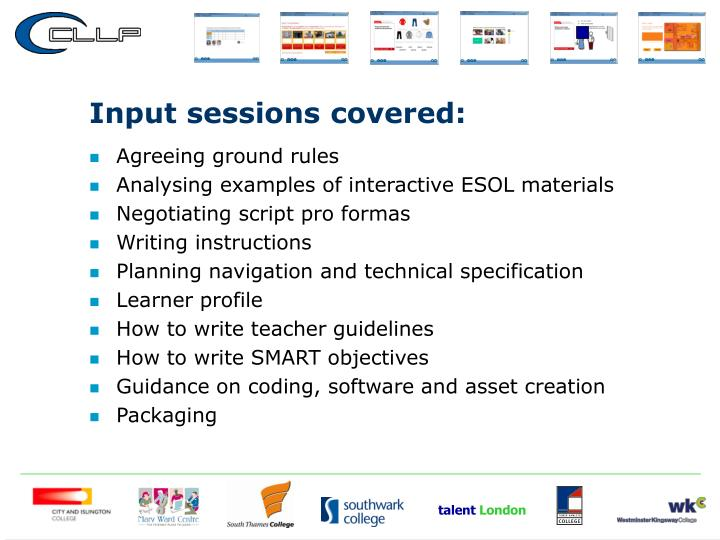 Input sessions covered: