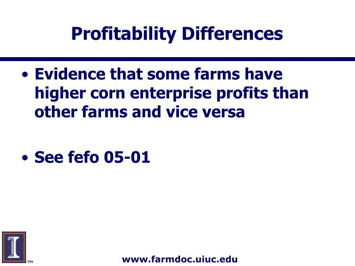 Profitability Differences