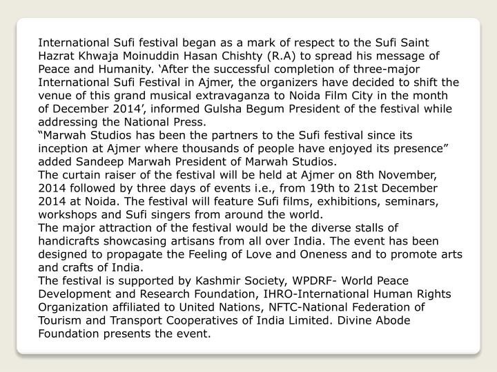International Sufi festival began as a mark of respect to the Sufi Saint