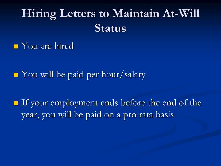 Hiring Letters to Maintain At-Will Status