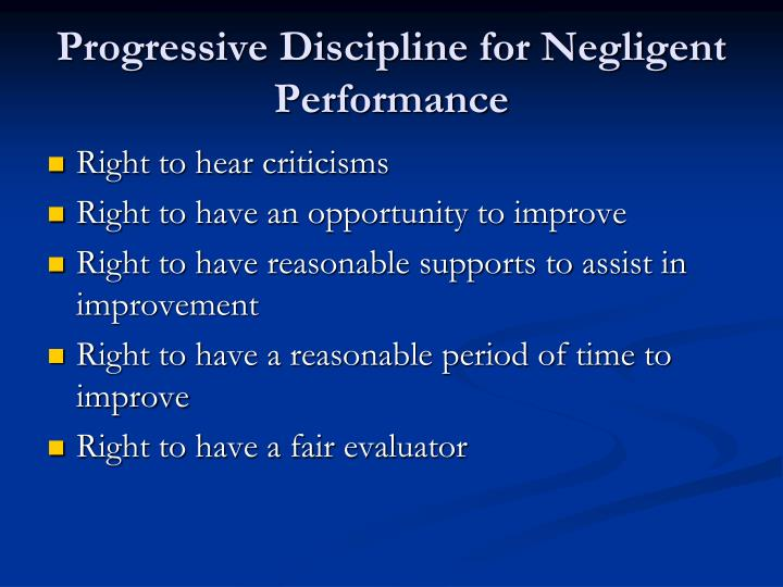 Progressive Discipline for Negligent Performance