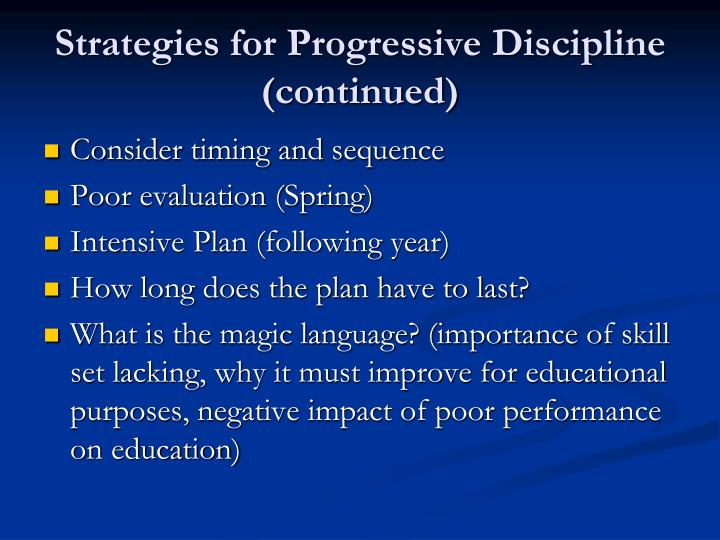 Strategies for Progressive Discipline (continued)