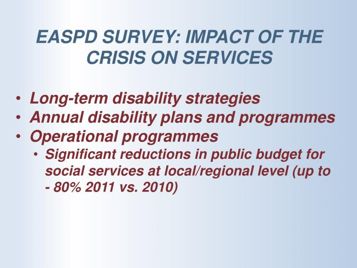 EASPD SURVEY: IMPACT OF THE  CRISIS ON SERVICES